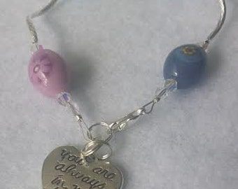 "Beautiful ceramic bracelet with ""You are always in my heart"" charm  Free shipping!"