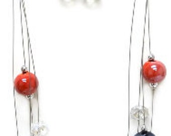Glossy AB Coated Porcelain & Crystal Beads Layered Necklace and Earrings Set_2 Colors for your option