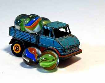 Toy Pickup Photo  Boys Room Boys Nursery Photo Colorful Toy Truck Marbles Toy Marbles Pick Up Truck Blue Pickup Man Cave Decor