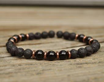 Protection, Essential Oil Diffuser Bracelet, Black Tourmailne Bracelet, Base Chakra Bracelet, Beaded Diffuser, Lava Bracelet, Aromatherapy