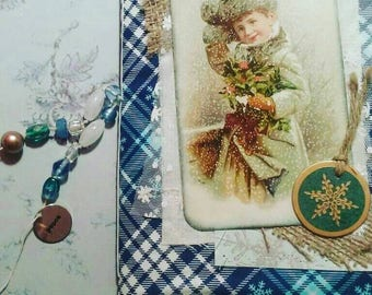 Winter journal, Christmas journal, Christmas junk journal, Fabric journal, Vintage junk journal, December daily