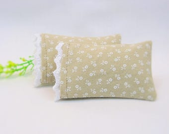 Miniature Doll Pillowcase with Removable Pillow / Beige Floral Print / 1:12 Dollhouse Scale