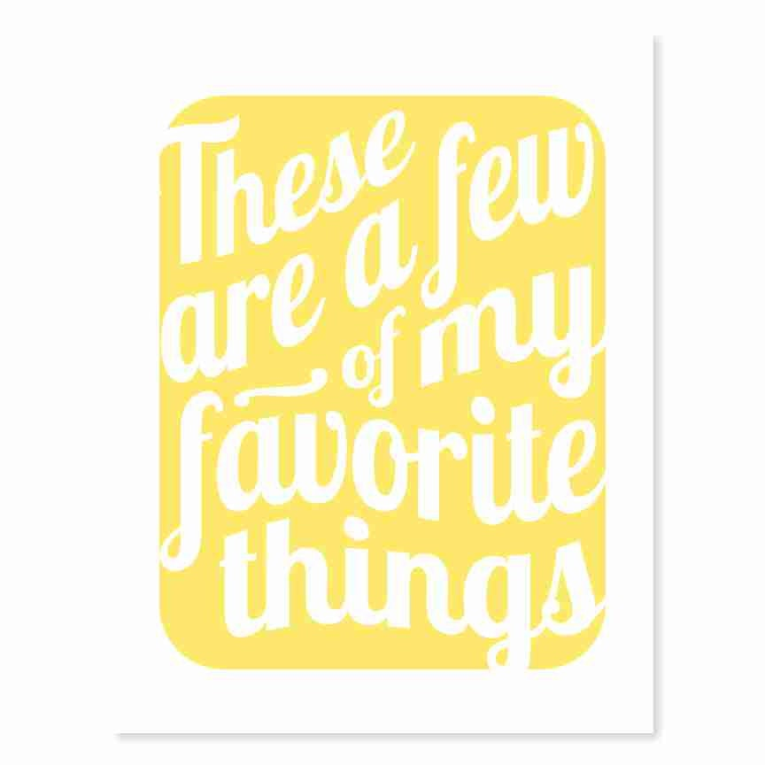 Typography Art Print - Favorite Things v3 - Sound of Music song ...