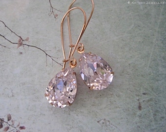 Long rose gold blush Pink Crystal drop earrings-  Created with sparkling rosaline crystals from Swarovski®