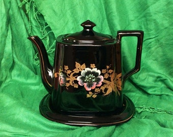 Black Teapot and Stand. Jackfield Teapot.
