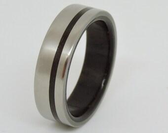 Wood and Titanium  Ring , Rosewood and Titanium Ring, Wedding Wood and Titanium Ring,