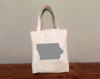 Iowa Tote Bag with Optional Heart
