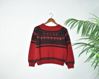 Vintage Cropped Red Knitted Sweater