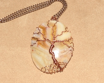 331 Antique copper tree of life crazy lace agate