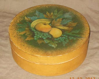 Primitive stenciled box Fruits Paper Mache Fruits Papier Mache  Round box