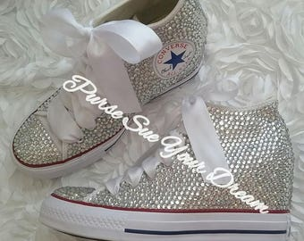 SWAROVSKI CRYSTAL CONVERSE Chuck Taylor Lux Wedge Mid Wedding Converse - Wedding Chucks- Pearl Wedding Shoes - Swarovski Bat Mitzvah Shoes