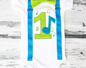 Boy first birthday green music notes themed bow tie & Suspenders Bow tie Number 1 Boy First Birthday Boy Cake Smash Outfit Boy 1st Birthday