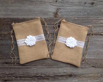 2 Dollar Dance Bags, Burlap Wedding Bags, Rustic Wedding, Barn Wedding, White Wedding, Burlap and Lace, Natural Wedding, Drawstring Bag