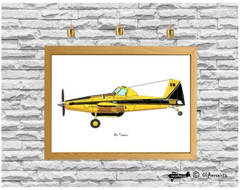 Easy to print poster Air Tractor airplane, kid room plane art, ag plane picture, digital art aviation, bedroom art, color airplane printable