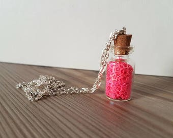 Vial necklace pink stars