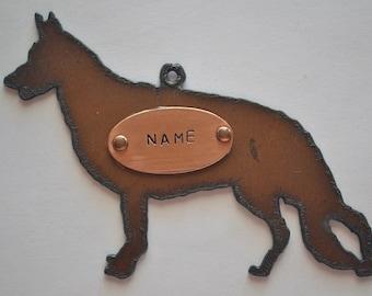 GERMAN SHEPHERD made of Rustic Rusty Rusted Recycled Metal Custom PERSONALIZED German Shepherd Ornament or Magnet