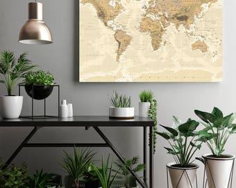 World Map Push Pin Wall Art Canvas Print, World Map Print Art, Large Wall Art World Map Canvas Art, Large Wall Art World Map Push Pin Canvas