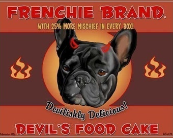 French bulldog gift Devil's Food Cake - French Bulldog art print, Frenchie food label