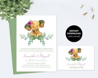 Elephant BABY SHOWER INVITATION and Thank You Card, Baby Shower Invitation Girl, Girl Baby Shower, Couples Baby Shower, Printable Template