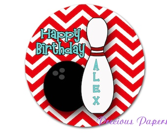 "20 - 2"" round Personalized PRINTED bowling birthday sticker red chevron bowling favor stickers"