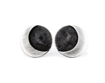 Earrings MOON Black Sterling Silver in Matte Finished