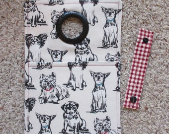 Black and White Doggie Print Fabric Cell Phone Charging/Docking Station/Wall Charger
