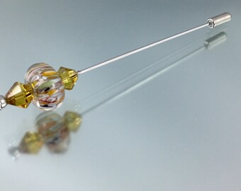 hat pin, lampwork hat pin, lampwork shawl pin, lapel pin, glass bead scarf pin, glass bead hat pin, beaded hat stick, beaded shawl pin