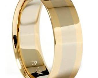 Gold Two Tone Mens Wedding Band Plain 8mm Polished Ring 14k White and Yellow Gold