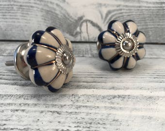 Ceramic Knobs Antique White & Cobalt Blue Ceramic with Silver Apron Hardware, Furniture Drawer Pulls, Cabinet Supplies, Item #587264159