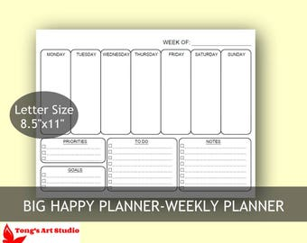 """Big Happy Weekly Planner, US Letter size 8.5"""" x 11"""", 2 layouts,Filofax Printable,Printable Weekly Schedule"""
