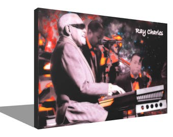 Ray Charles 100% Cotton Canvas Print Using UV Archival Inks Stretched & Mounted
