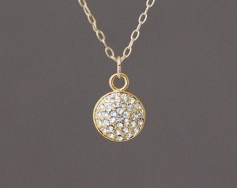 Gold Pave Crystal Sparkling Necklace