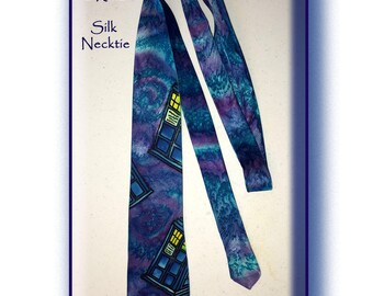 Silk TARDIS Necktie, Hand Painted, One of a Kind by Cyn Mc
