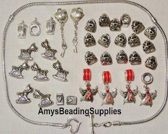 GRAB BAG! 35 pieces Silver-plated large hole alloy charm beads & Necklace (All pictured items included)