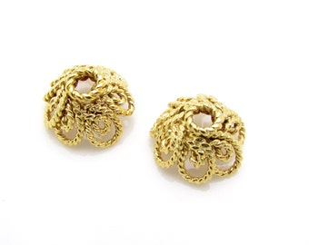 2 Pcs, 10mm, 24k Gold Vermeil Bead Cap
