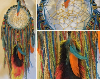 Rainbow of Colors Yellow Blue Weave Dreamcatcher Wall Art