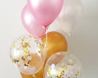 Pink White Gold Latex Balloons Pink and Gold Party Confetti Balloons Bridal Shower Balloons Pink and Gold First Birthday Pink and Gold