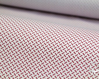 Cotton fabric printed with geometric micro design, red and white