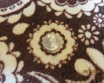 Soft and Cuddly Minky Chenille -Brown/Cream  Paisley/Floral  Print - Fabric  Priced Per 1/2 Yd - Free Shipping