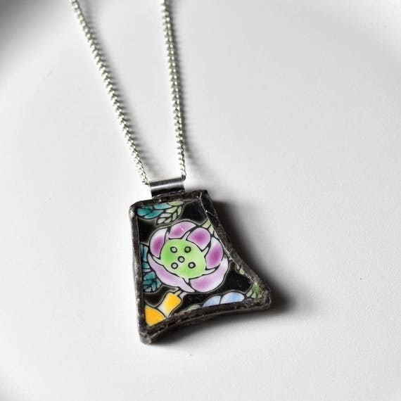 Broken China Jewelry Pendant - Purple and and Black Flower