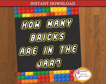 INSTANT DOWNLOAD - How many bricks are in the Jar Party Sign - Building Blocks Sign - Blocks Party Sign - Blocks Sign - PRINTABLE