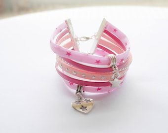 Starry pink Cuff Bracelet