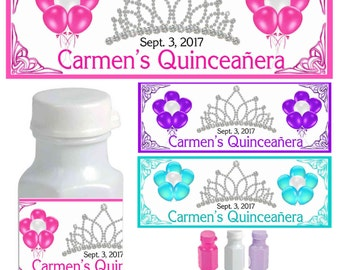 30 QUINCEANERA PARTY FAVORS bubble labels