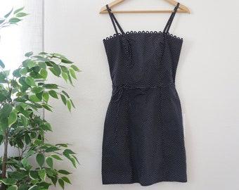 Vintage Polka Dot Summer Spaghetti Strap Form Fitting Dress-Size Small
