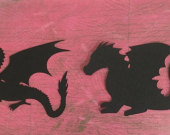 Dragon die cuts 2 styles set of 4 embellishments in any color
