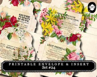 Envelope Templates & Insert - Set #24 - 8 Pg Instant download - envelope template, printable envelope, clipart floral, digital roses floral