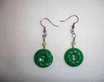 Green Vintage Button Earrings