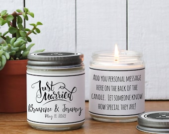 Just Married Wedding Gift Candle - Personalized Wedding Gift | Unique Wedding Gift | Wedding Gift for Couple | Wedding Gift Ideas