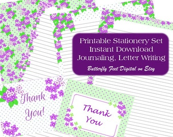 Printable Stationery, Lined Writing Paper, Floral Stationery, Letter Writing, Instant Download