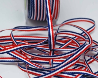 Patriotic Stripe Ribbon  -- Red White Blue -- 3/16 inch -- July 4 Decorative Trim
